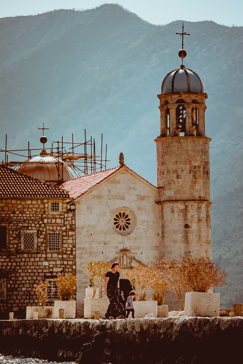 In front of the Church of Our Lady of the Rocks near Perast, Montenegro.