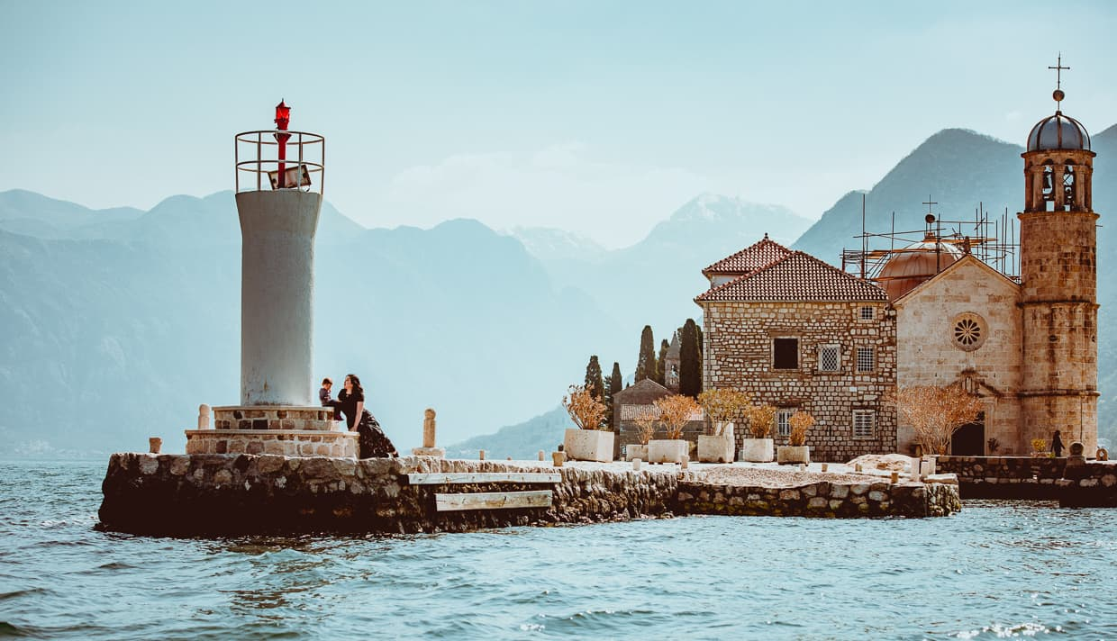 Our Lady of the Rocks and lighthouse. Kotor, Montenegro day trip.