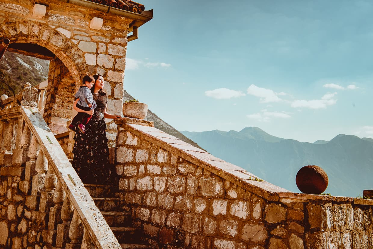 Old stairs on Our Lady of the Rocks in Kotor, Montenegro.