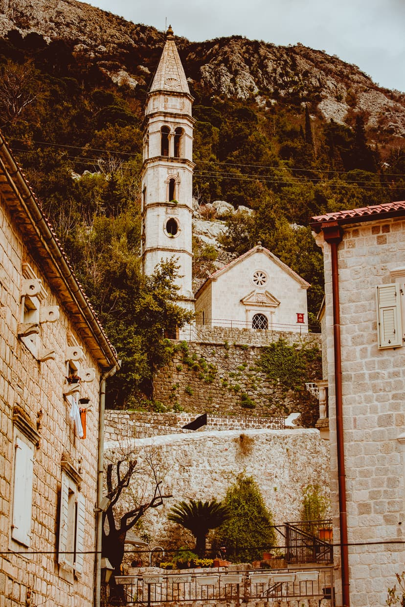 A church steeple in Perast, Montenegro.