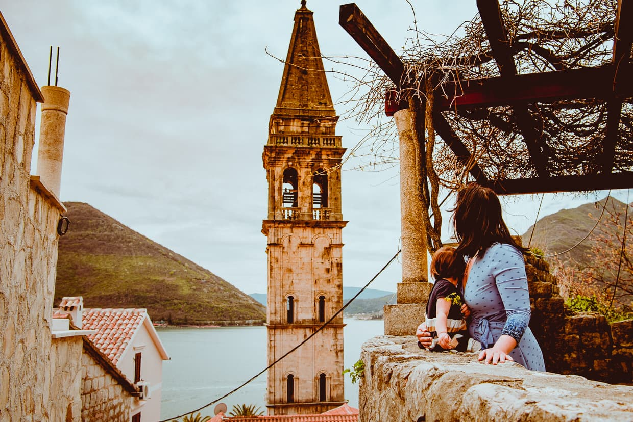 The steeple of the Church of St. Nikola in Perast, Montenegro.