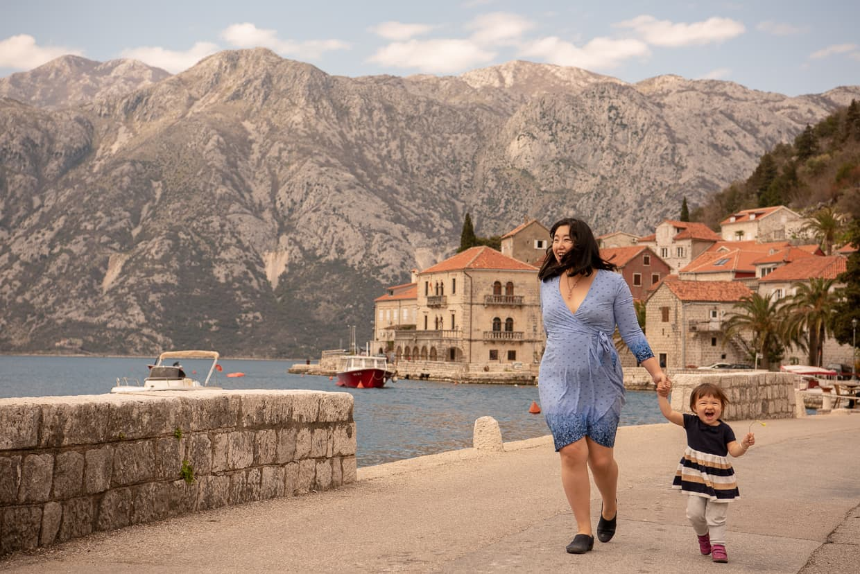 Walking on the Perast, Montenegro promenade.