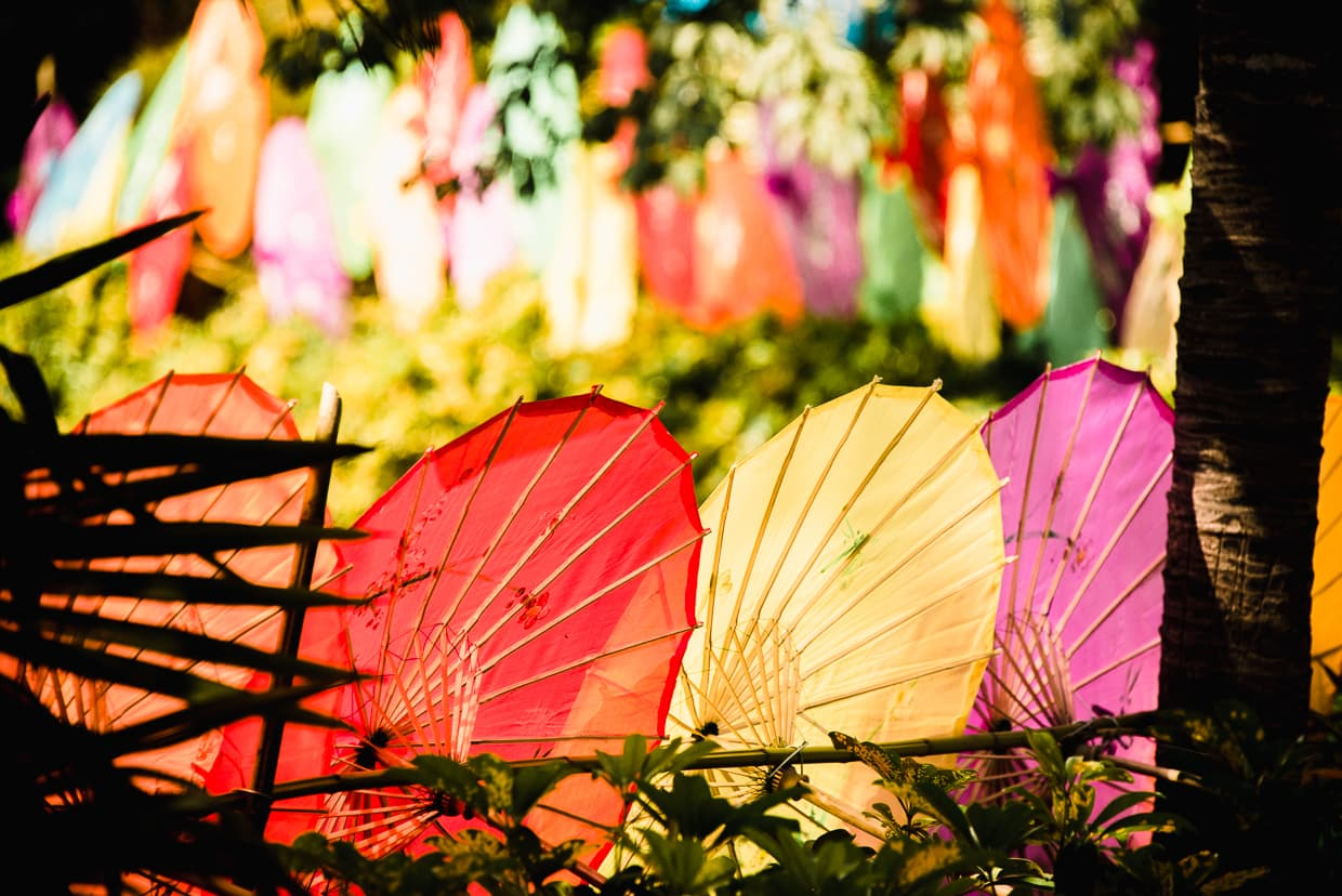Colorful Dai umbrellas in the Yunnan Ethnic Village.