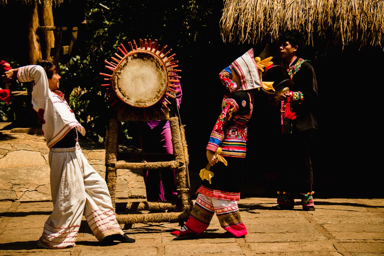 Free performances at the Yunnan Ethnic Village in Kunming, China.