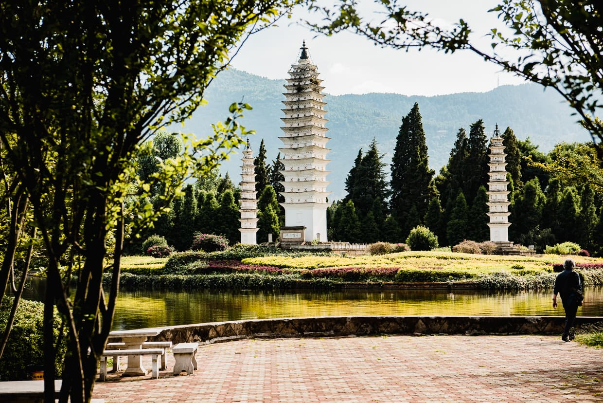 The Yunnan Ethnic Village of Kunming, China Three pagodas in the bai village.