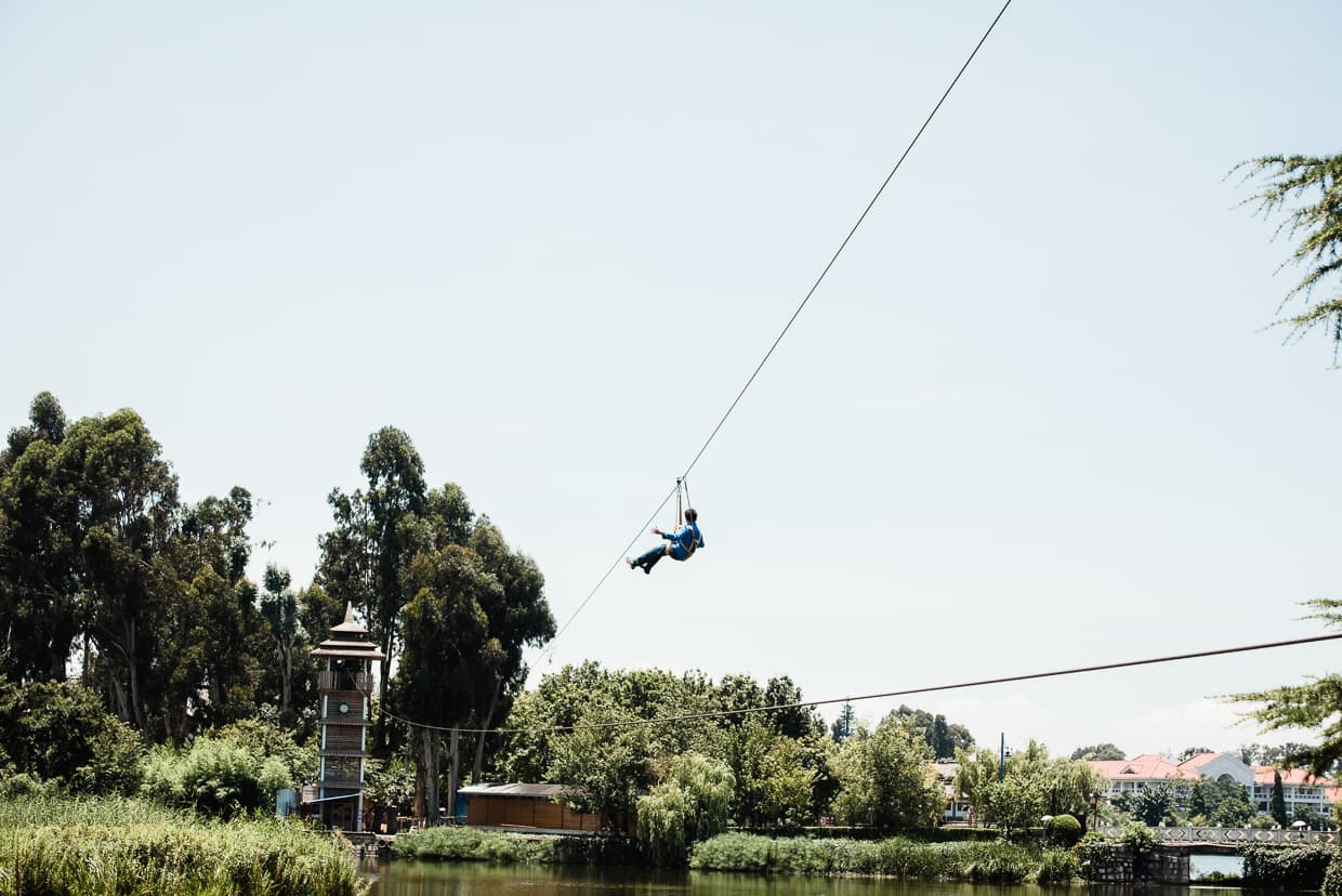 Jake's first zip-line ride.