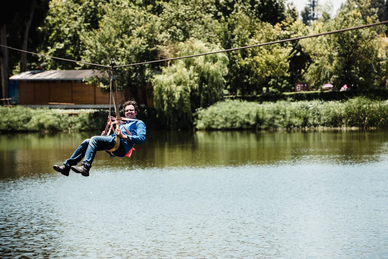 The Yunnan Ethnic Village zip-line across a canal.