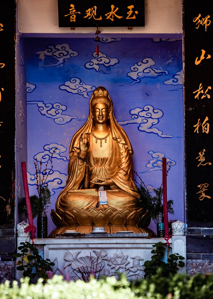 A statue of the Buddha of Compassion in Lijiang, China.