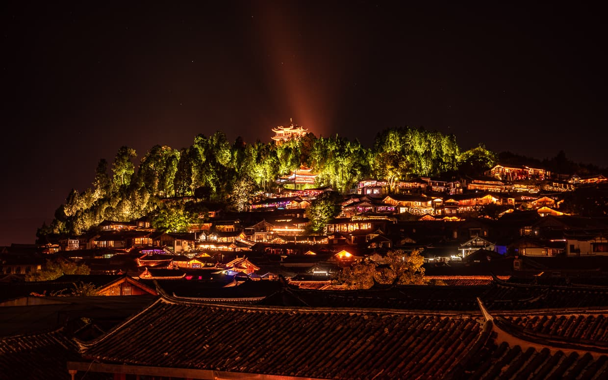 Lion Hill and Wangu Tower at Night. Lijiang, China.
