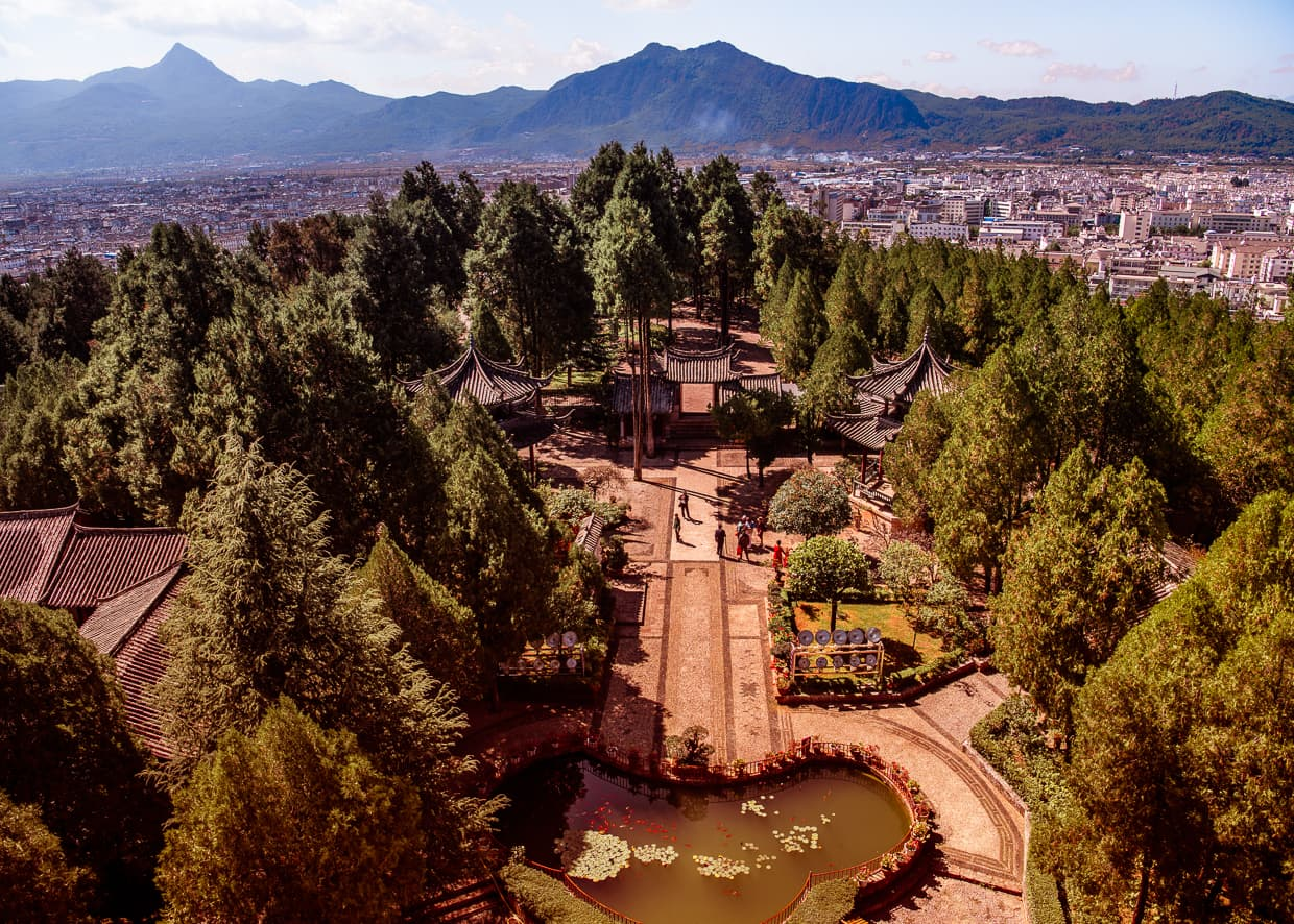 Lion Hill from Wangu Tower in Lijiang, China Old Town.
