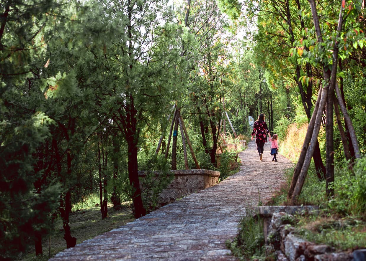 Hiking Lion Hill in Lijiang, China Old town.