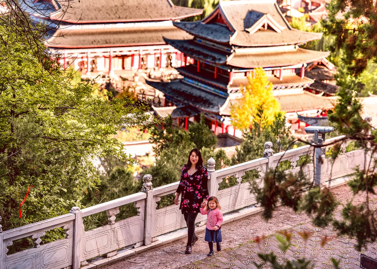 The promenade on Lion Hill overlooking the Lijiang Old Town.