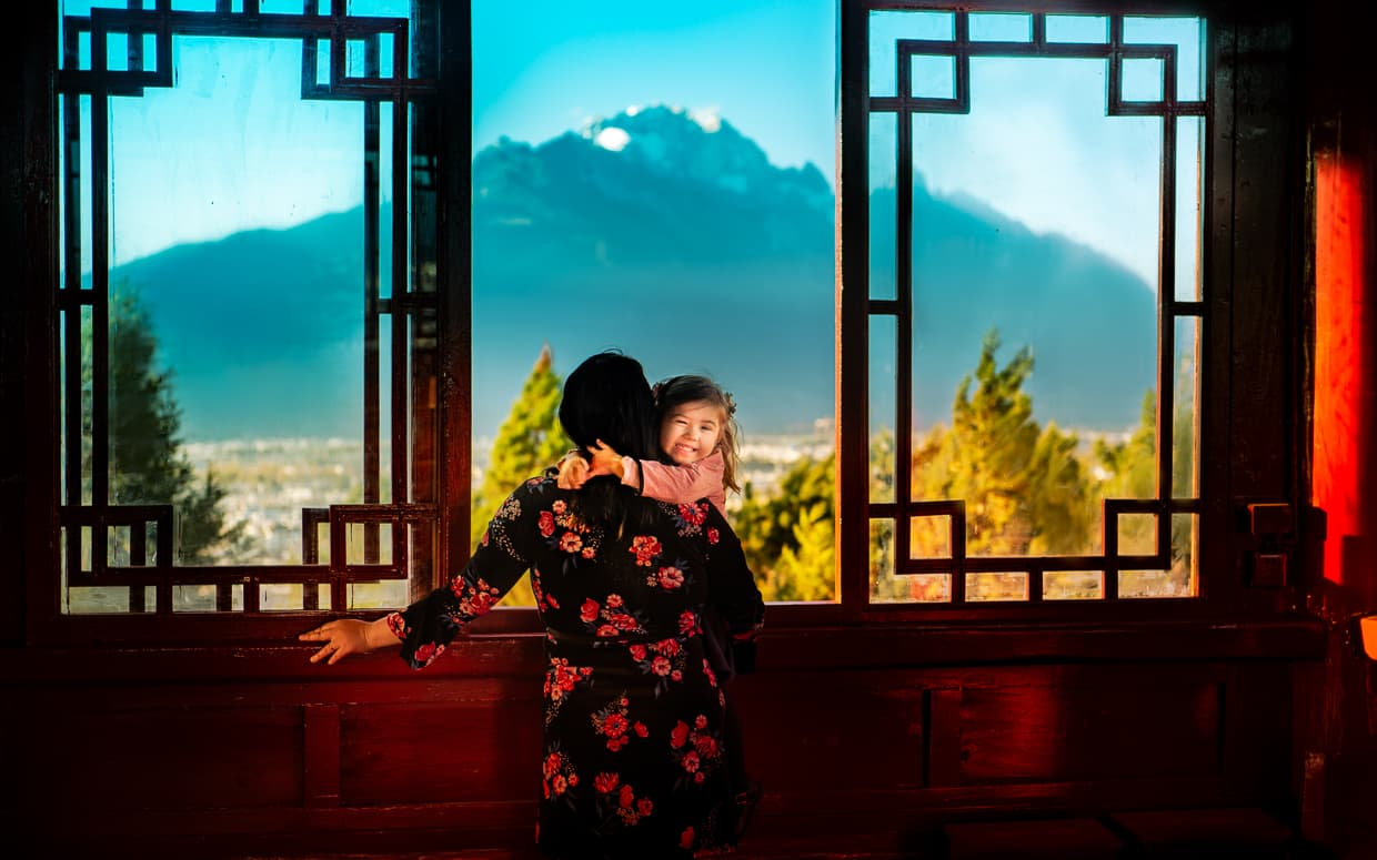 Wangu tower viewing window. Lion Hill, Lijiang, China.