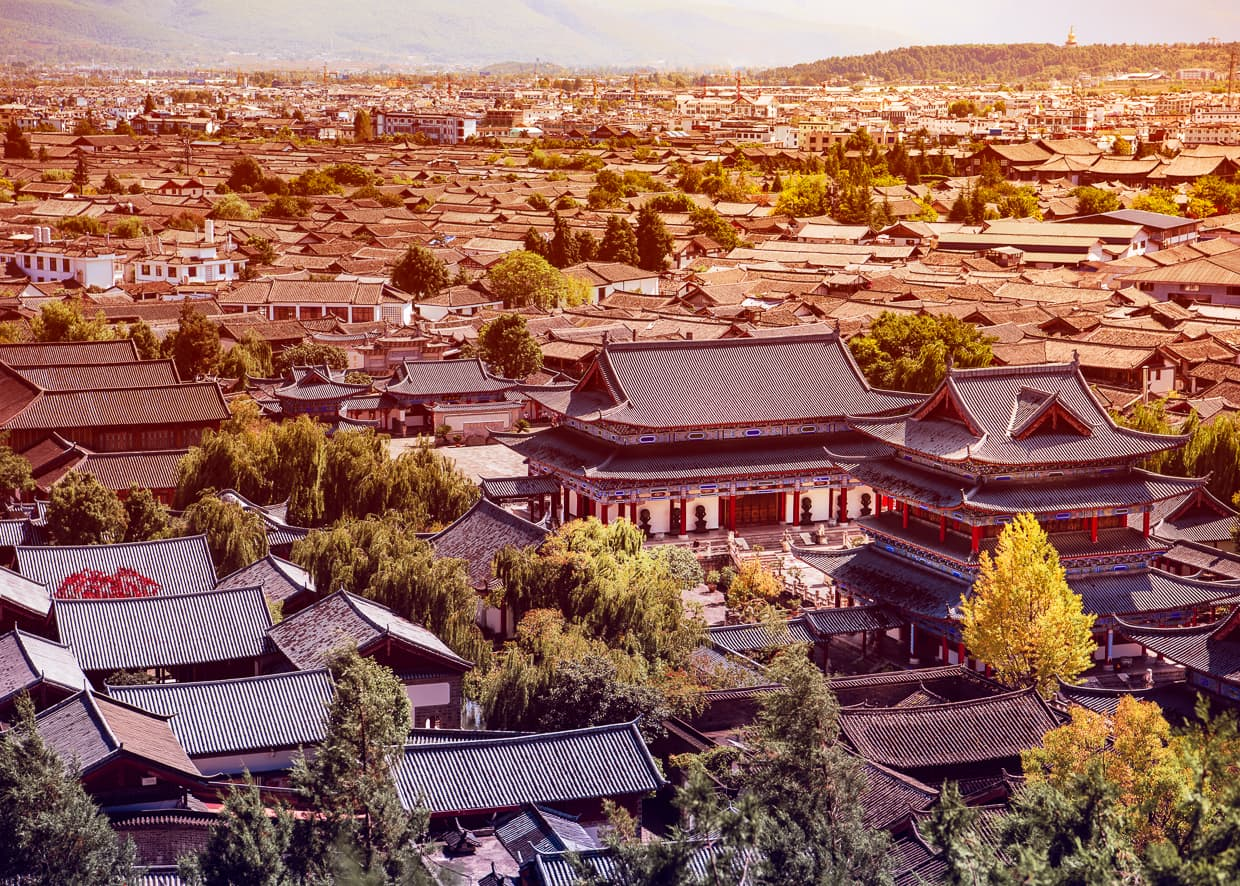 Mufu Palace, viewed from Lion Hill in Lijiang, China.