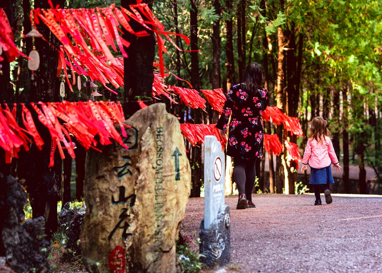 Red ribbons on a string on Lion Hill in Lijiang.