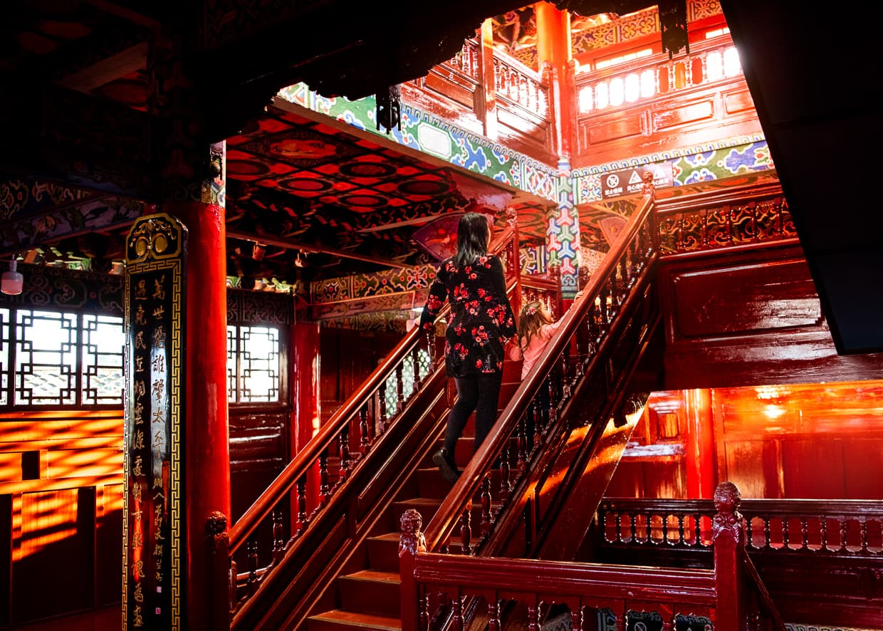 The stairs inside Wangu Tower. Lijiang, China.