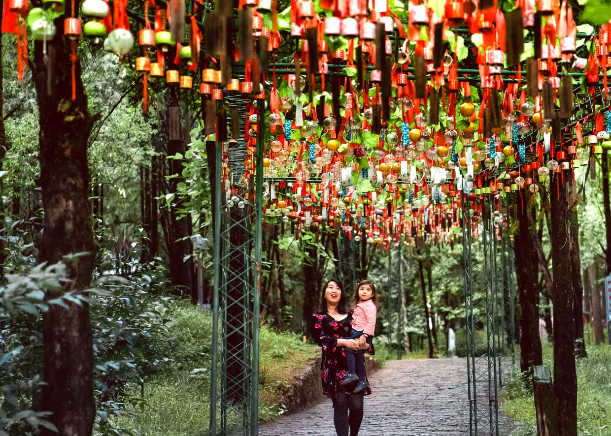 A canopy of wishing bells on Lion Hill. Lijiang, China.