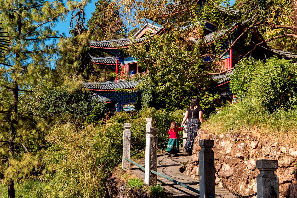 Lijiang, China. Climbing the hill in Mufu Palace.