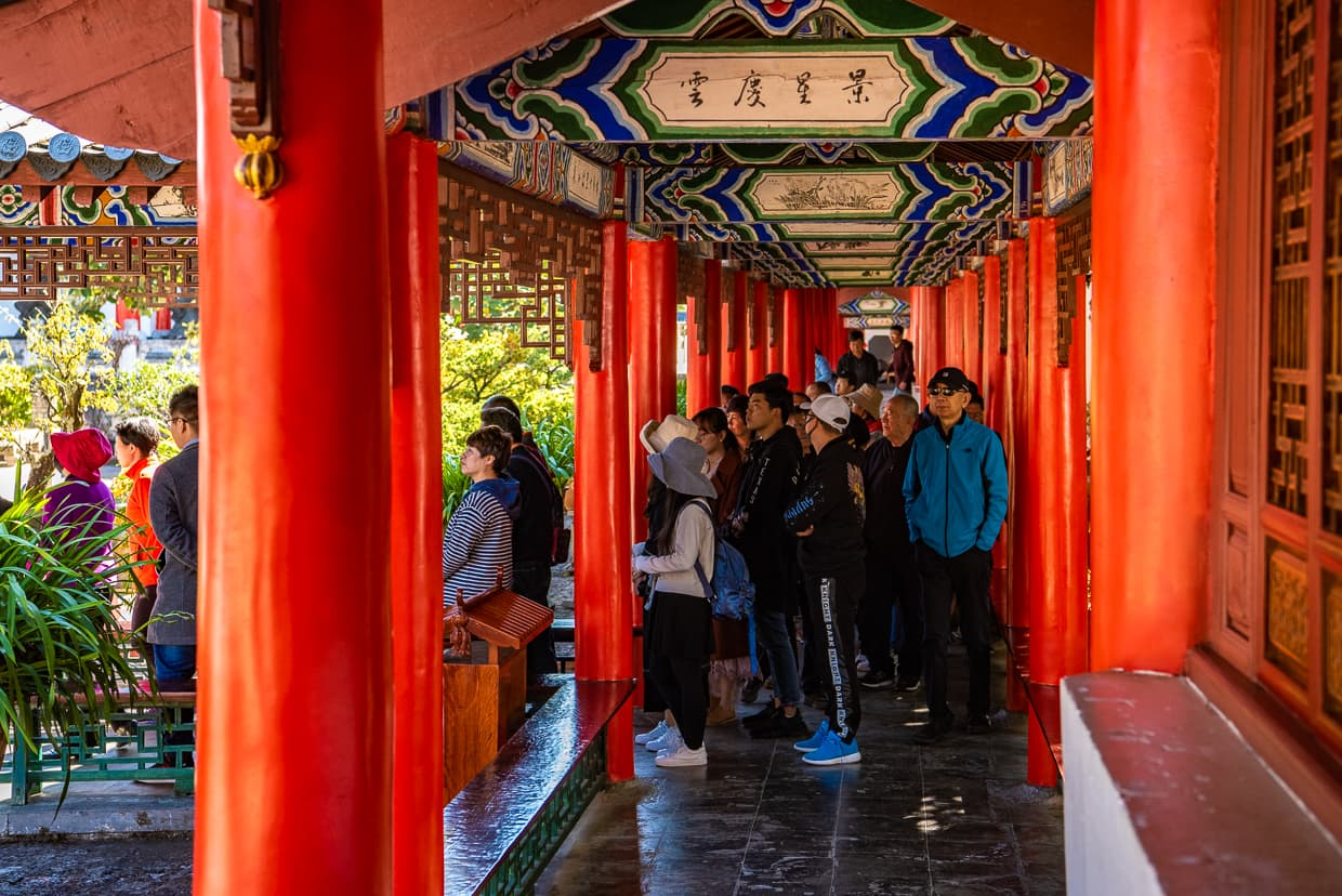 A Chinese tour group in Lijiang, China.