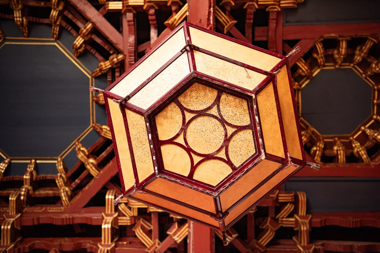 A ceiling lamp in Lijiang, China at Mufu Palace.