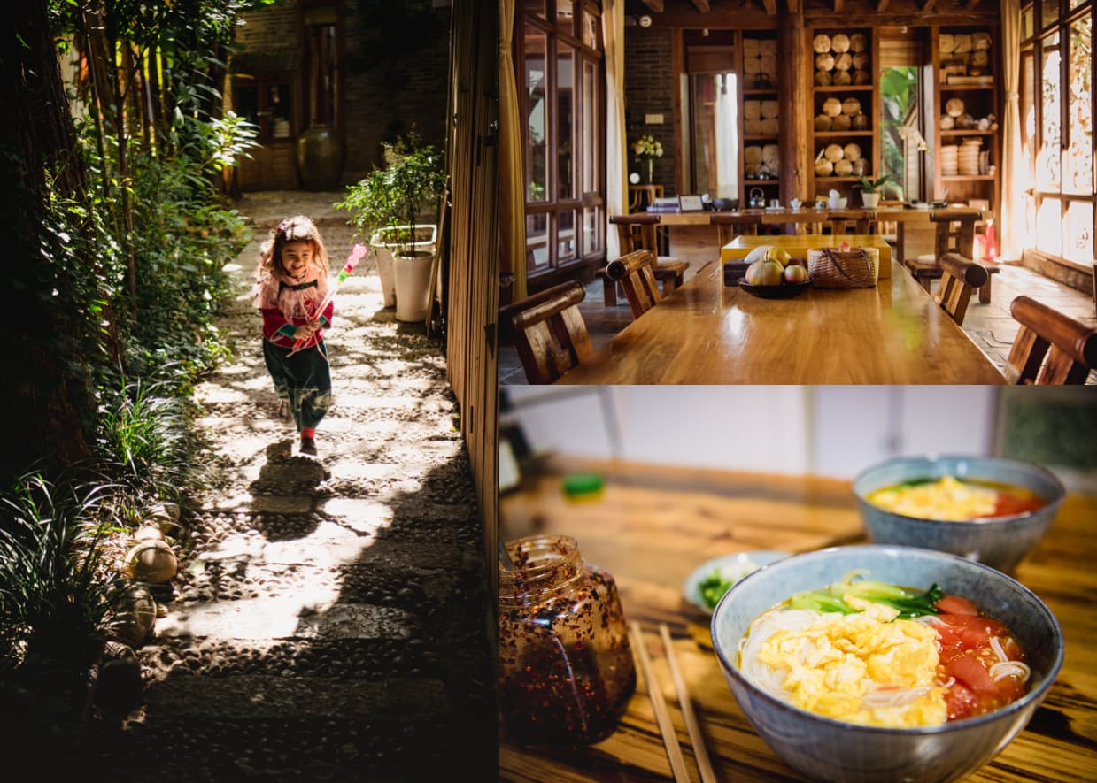 Banxi Caotang Hotel: The path leading to the entrance, the tea room/concierge, and noodles with eggs for breakfast.