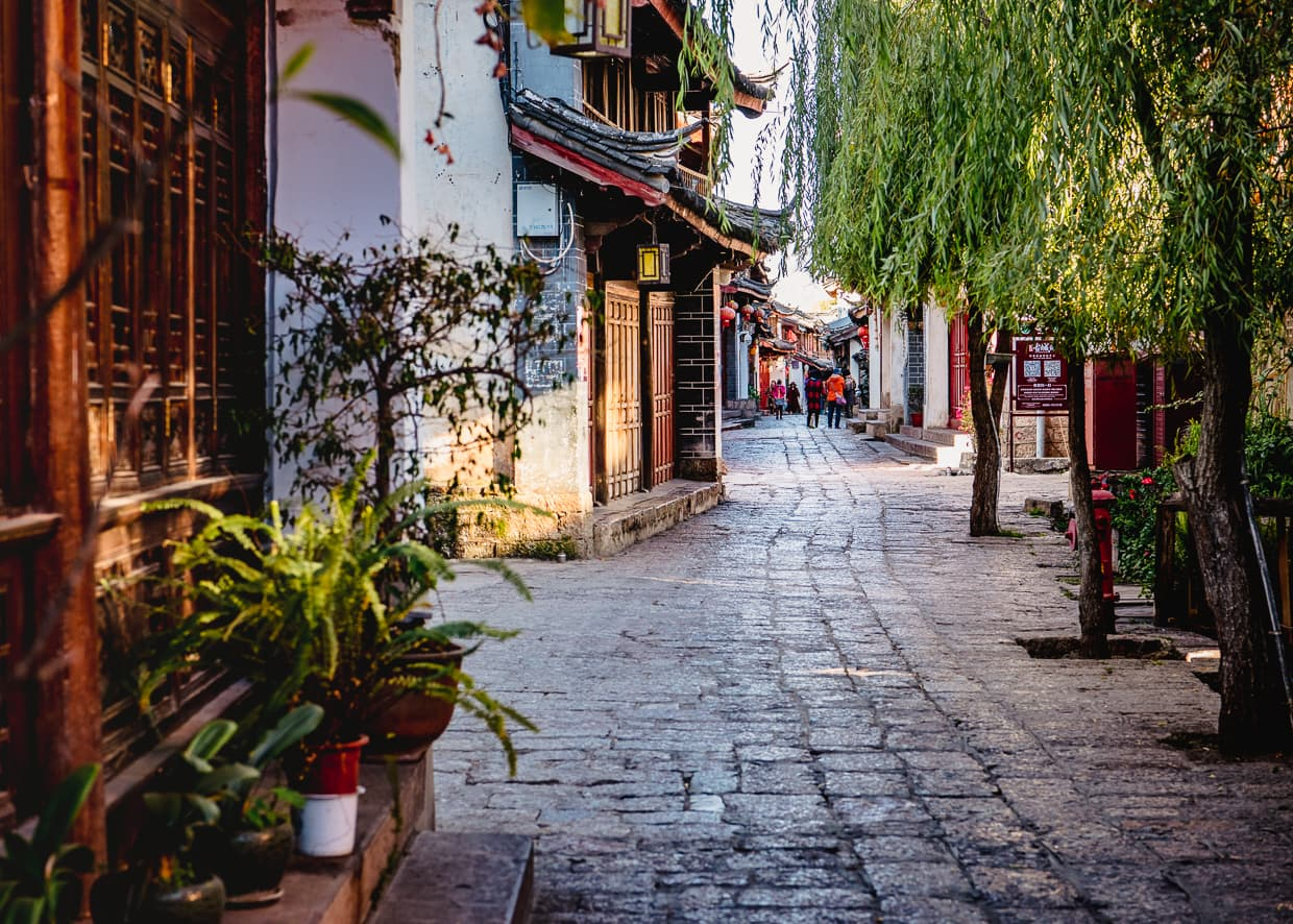 A street outside our hotel in Lijiang, China.