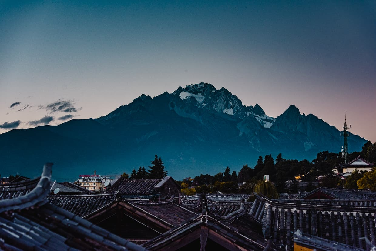 The Jade Dragon Snow Mountain from the roof of Harry's hotel in Lijiang.