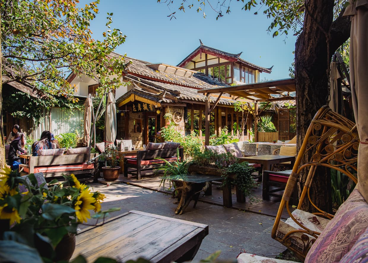 A guesthouse and Cafe in Shuhe Old Town. Lijiang, China.