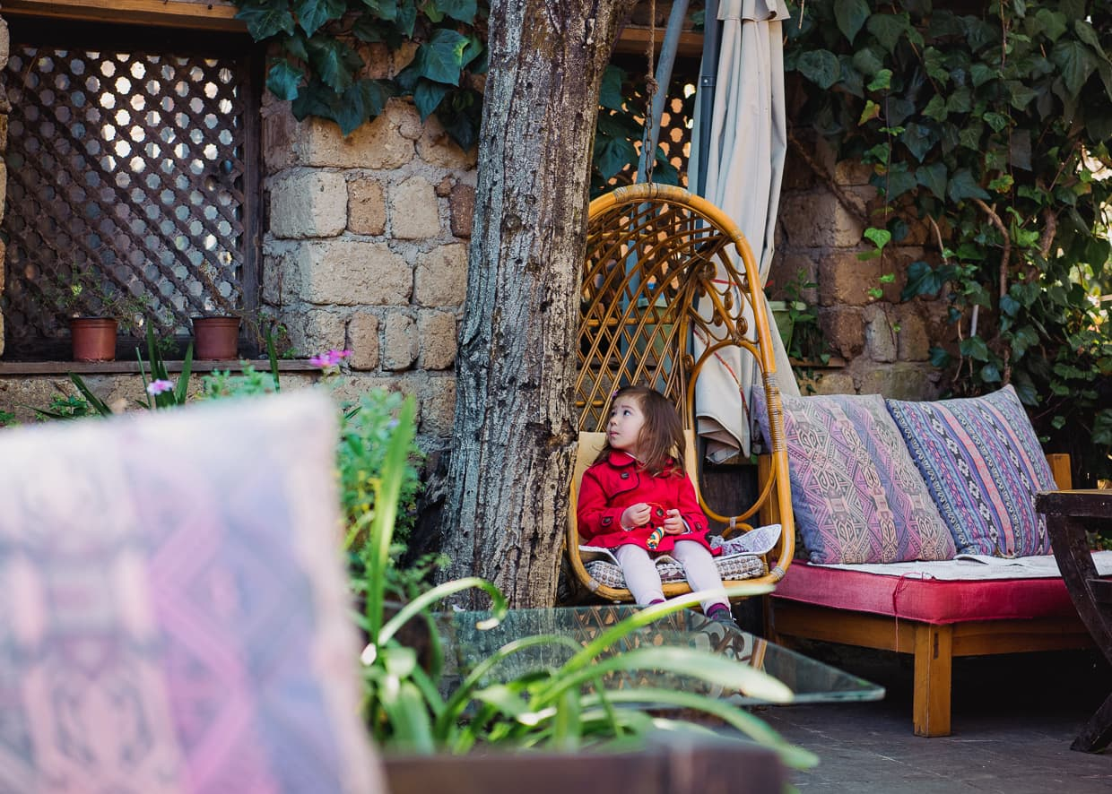 The swing on the hotel patio. Lijiang, China.