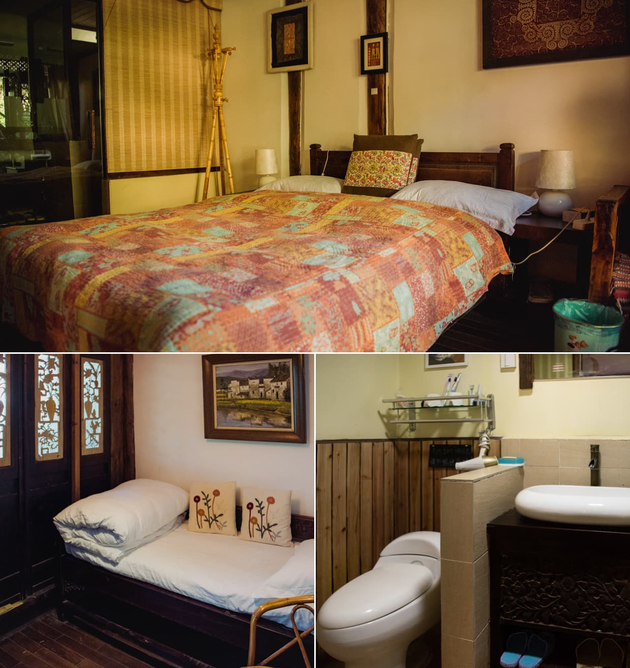 Our Shuhe Hotel: Beds and bathroom.