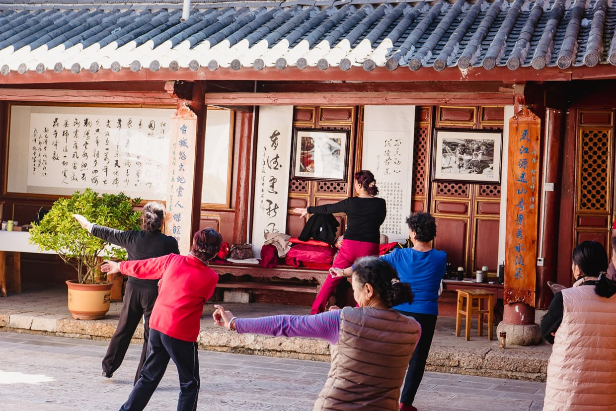 Traditional dance practice across the street from our Lijiang, China hotel.