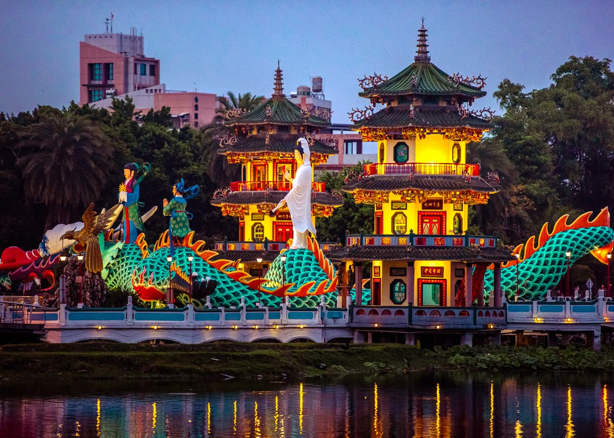 The Spring and Summer Pavilions. Kaohsiung.