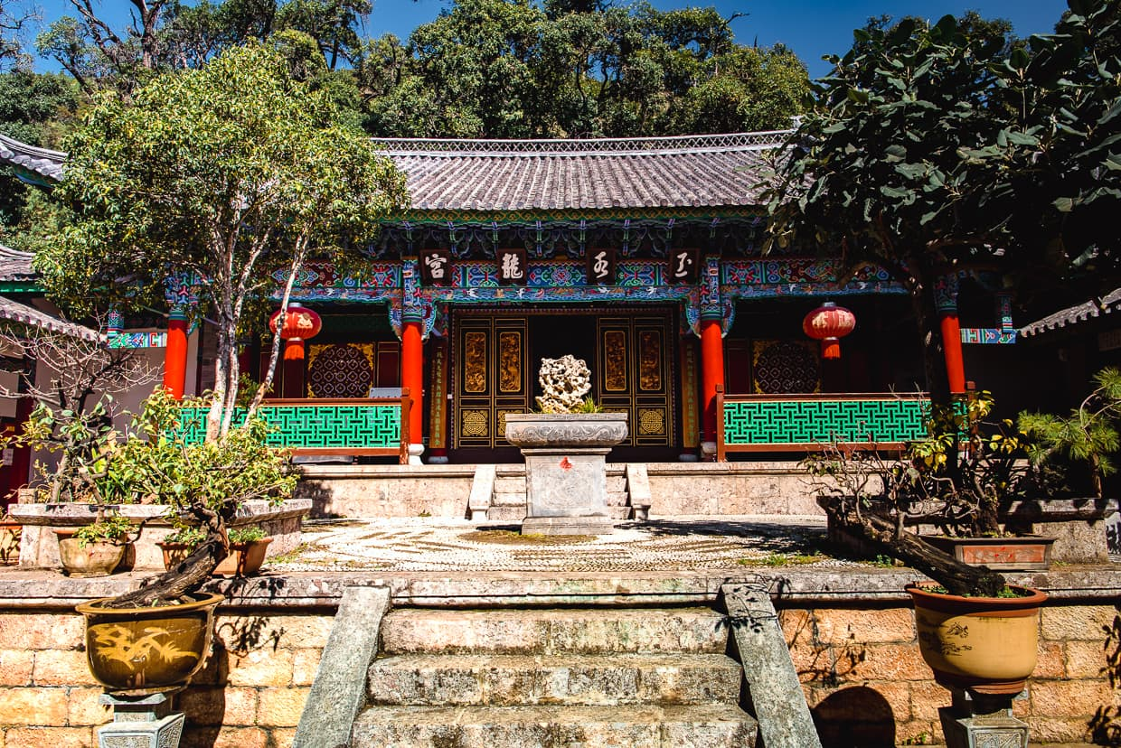 A buddhist temple in black dragon park Lijiang, China.