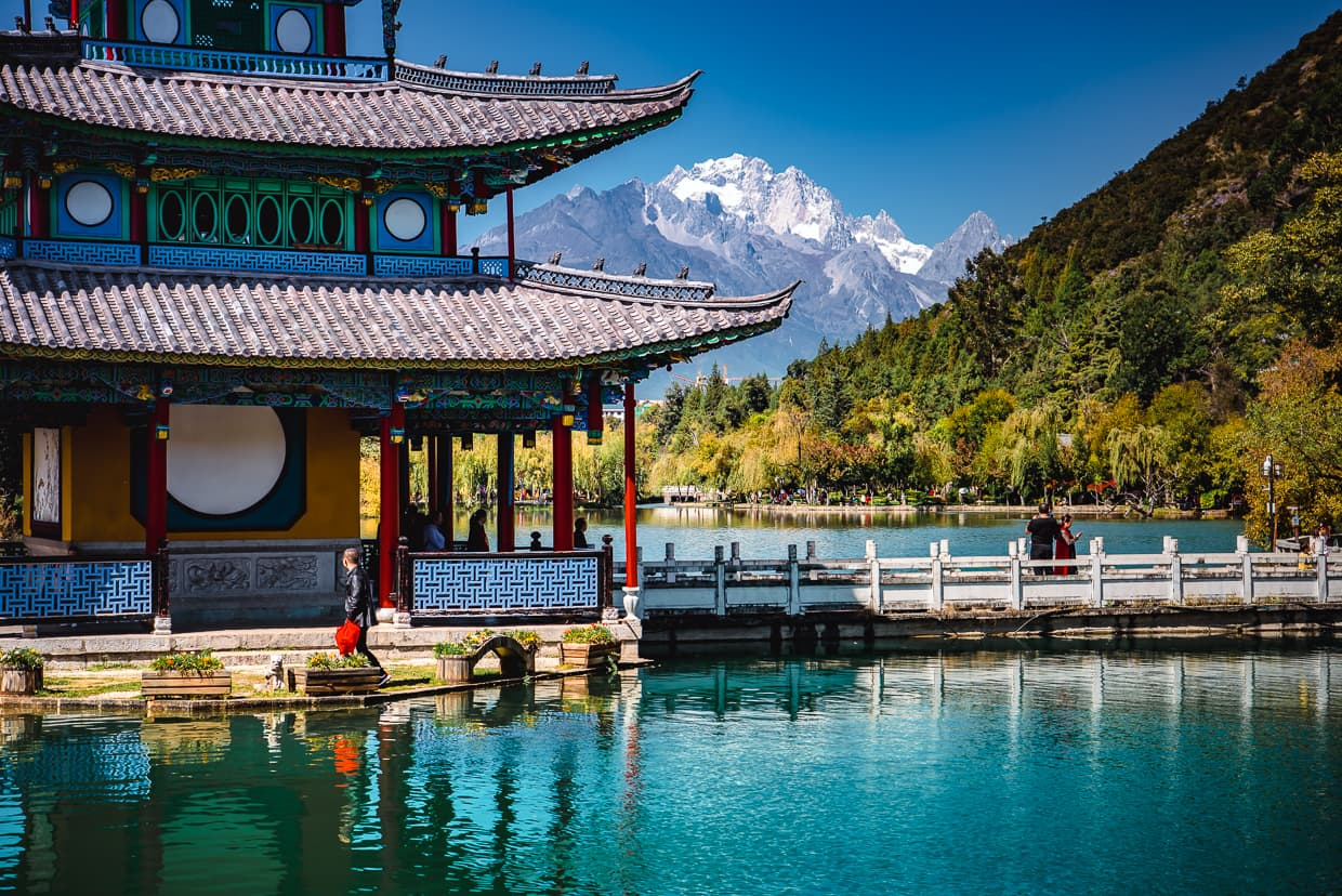 Deyuelou Pavilion in the Black Dragon Pool. Lijiang, China