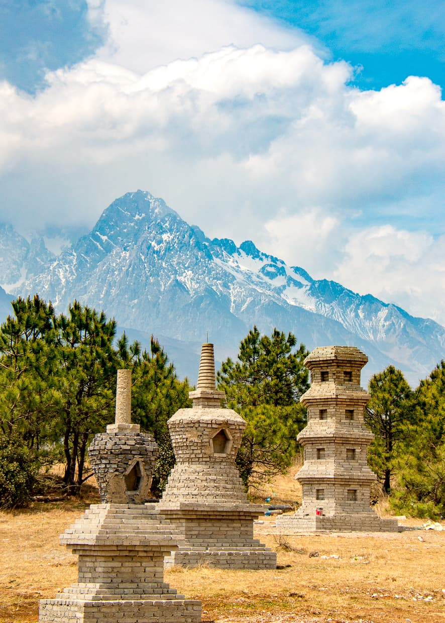The Jade Dragon Snow Mountain and some monuments.