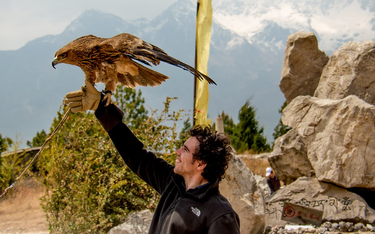 Holding an eagle at a Lijiang, China tourist trap.