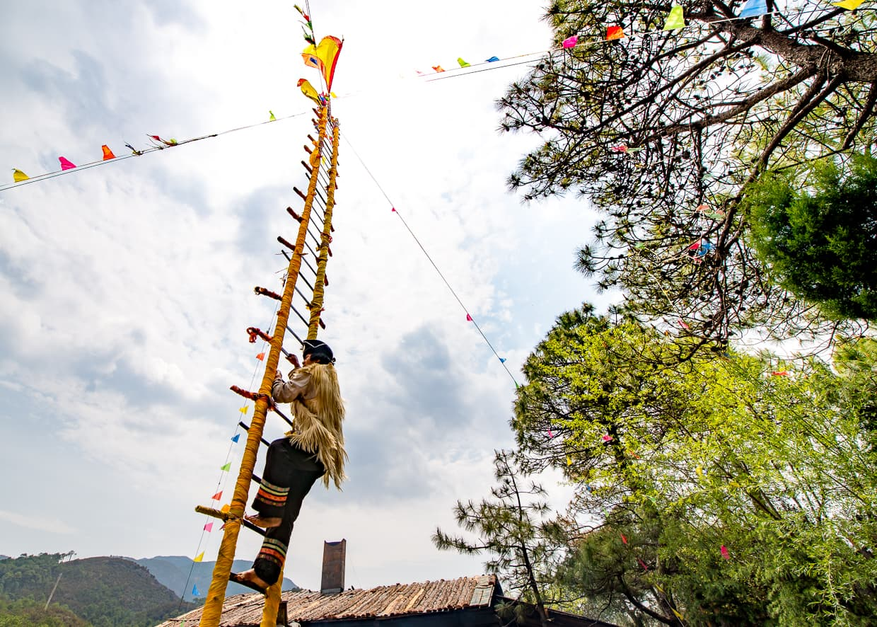 Local climbing a ladder of blades in Lijiang, China.