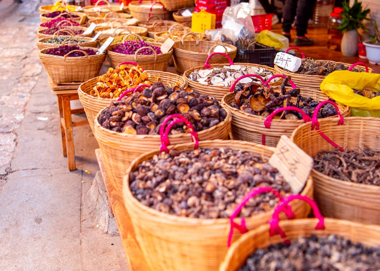 Dried mushrooms in the Lijiang Old Town.