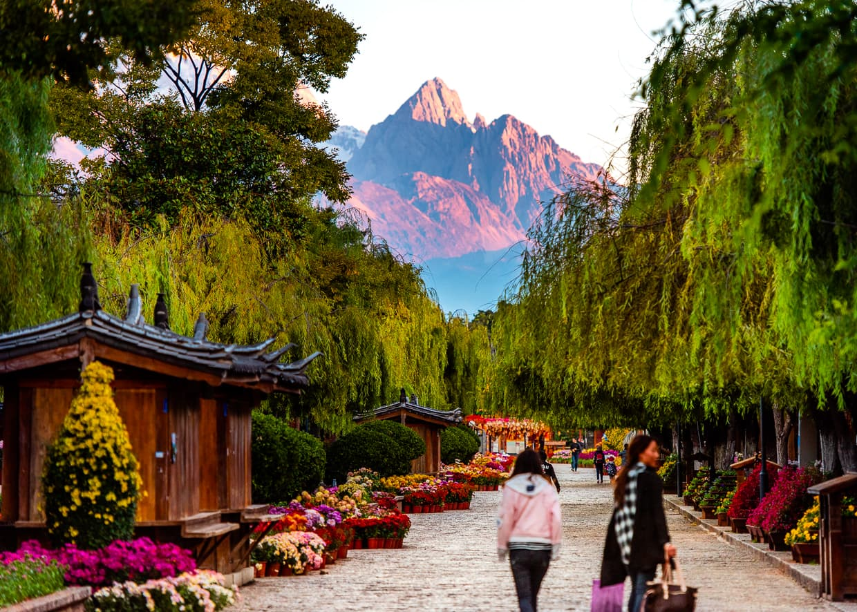 The Jade Dragon Snow Mountain over the Lijiang, China Old Town.
