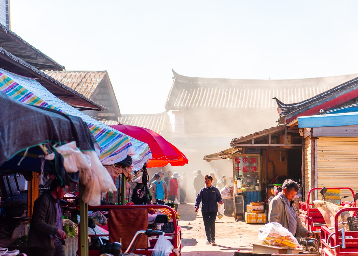 A busy street near the Lijiang Old Town.