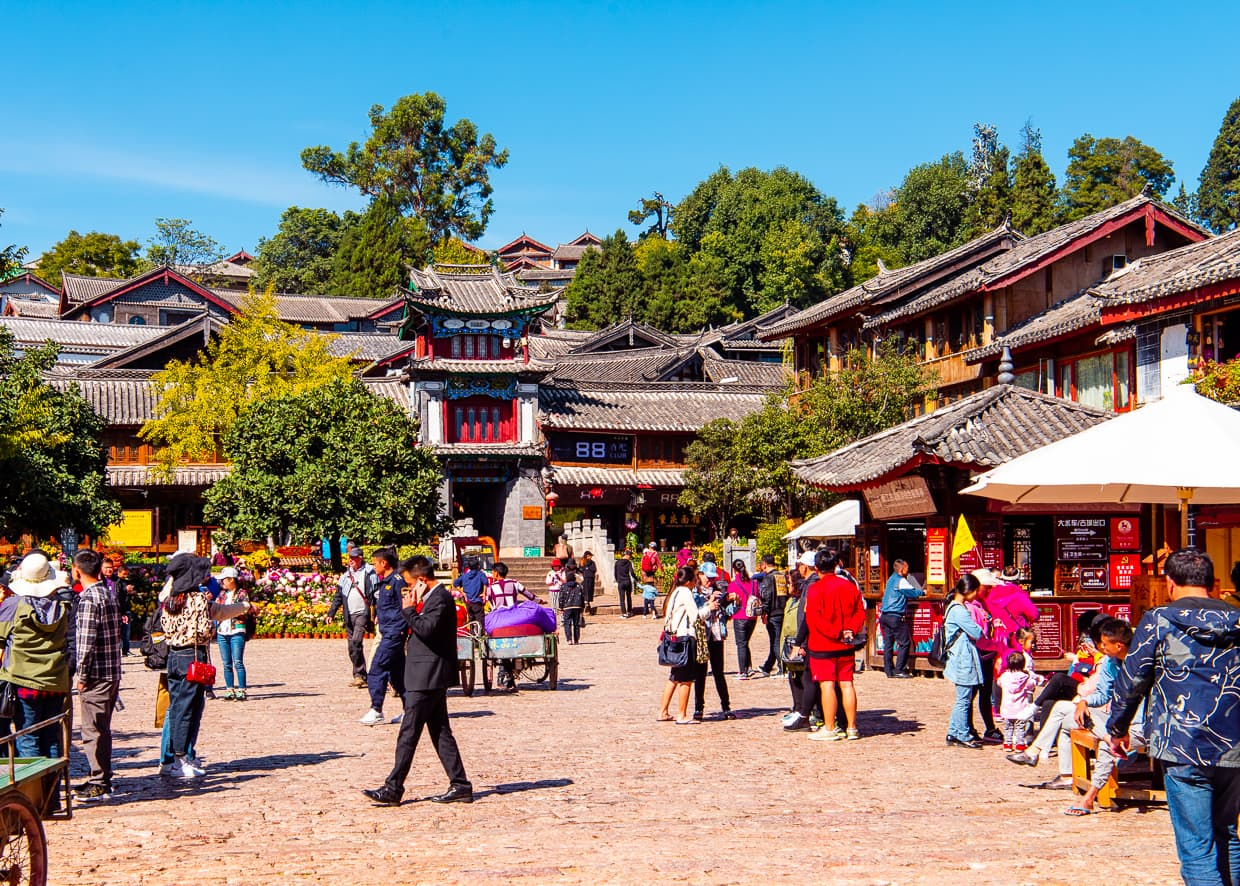Square street in the Lijiang Old Town. Yunnan, China.