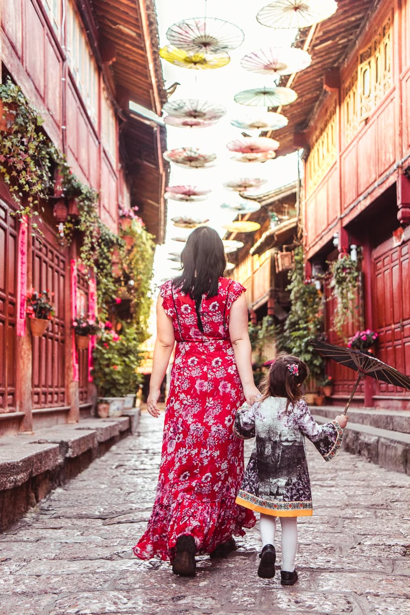 The Lijiang Old Town umbrella street.
