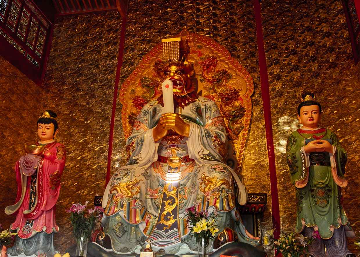 Shrine inside the White Horse Dragon Pond Temple. Lijiang, China.