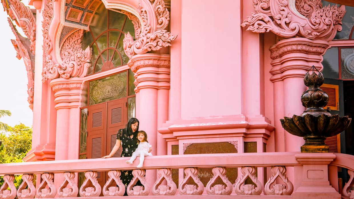 The pink balcony of the Erawan Museum in Bangkok, Thailand.