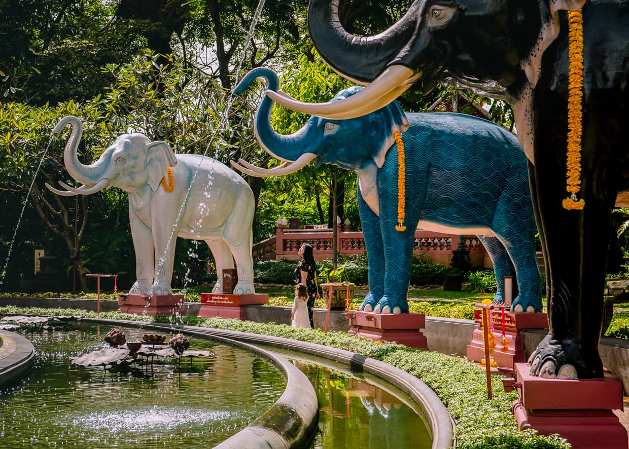 Elephant fountains that surround the Erawan Museum in Thailand.