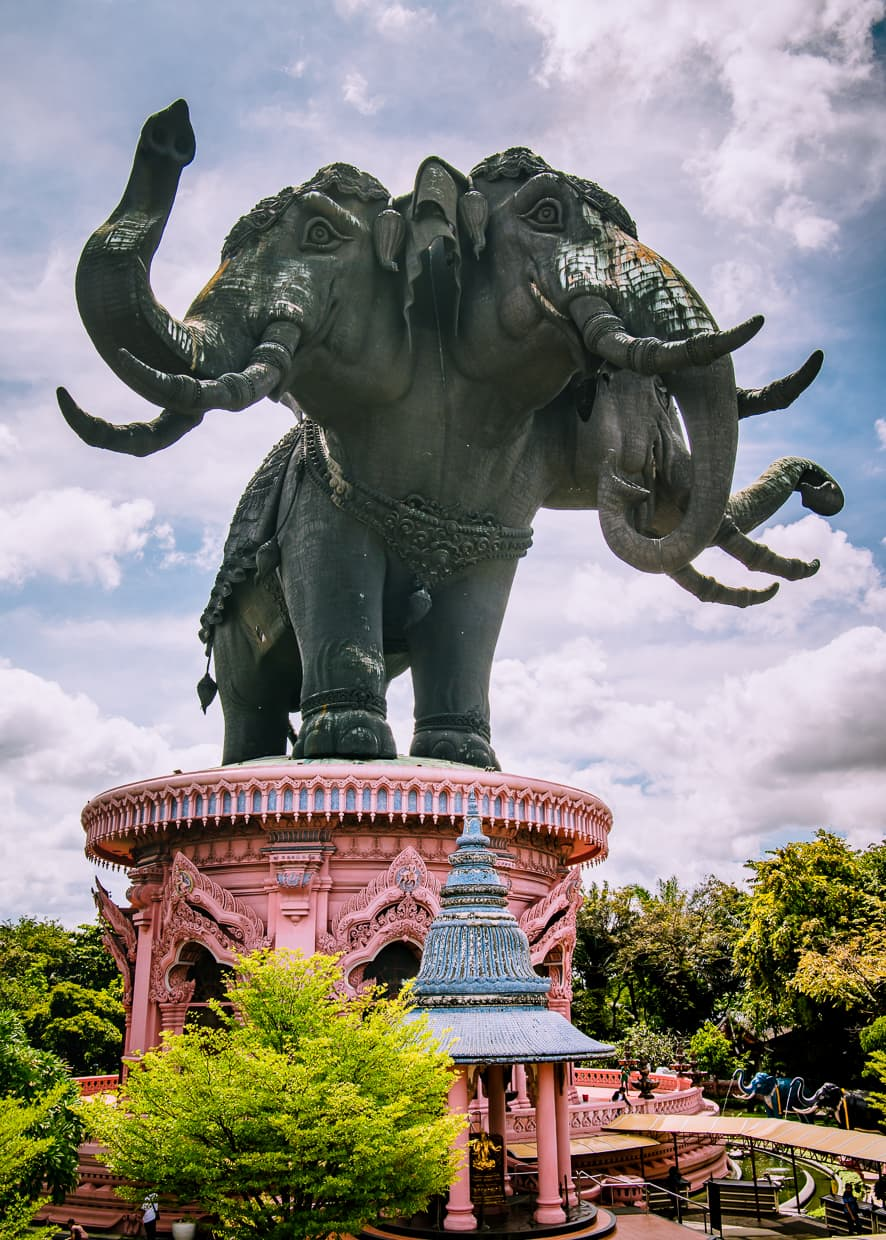 The three headed elephant statue at the Erawan Museum in Bangkok, Thailand.
