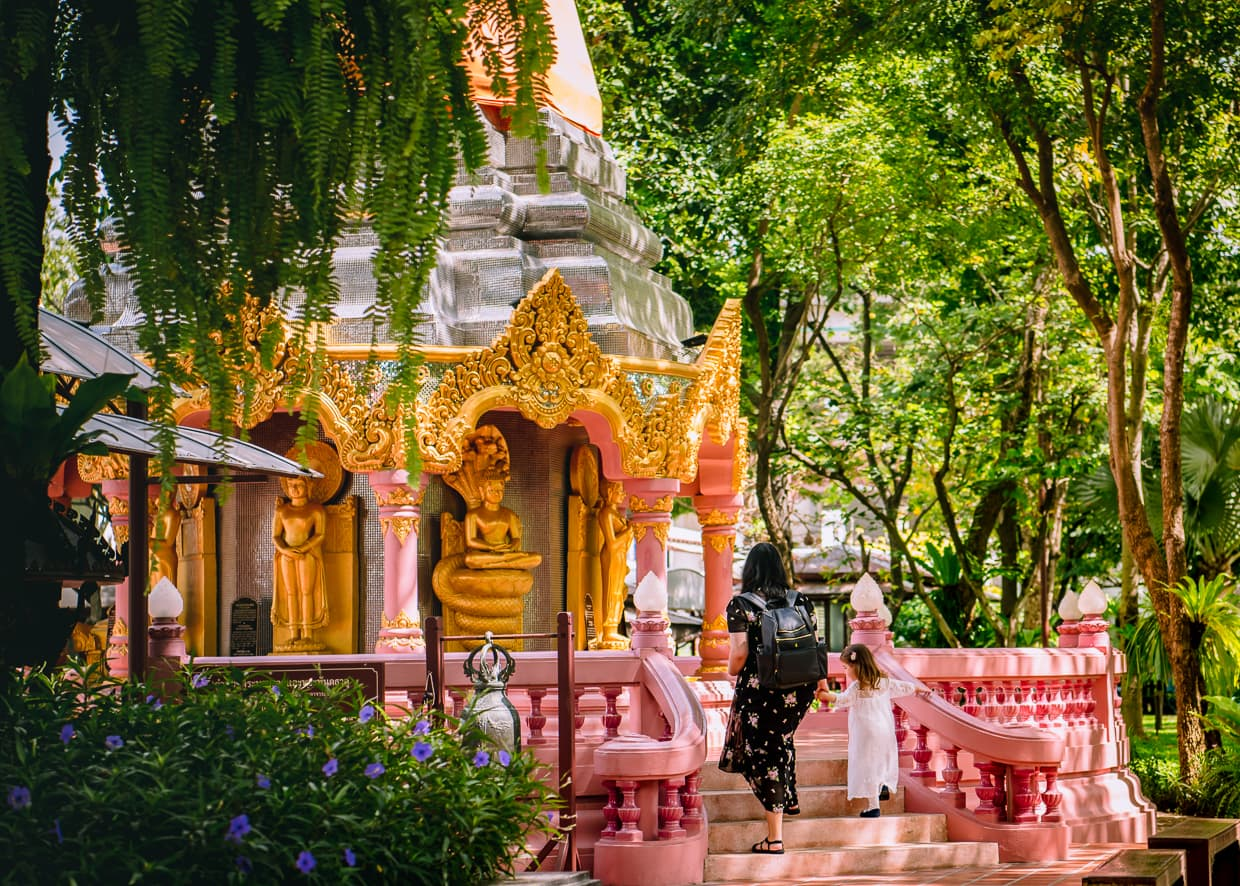 Approaching a Buddhist shrine in Bangkok, Thailand.