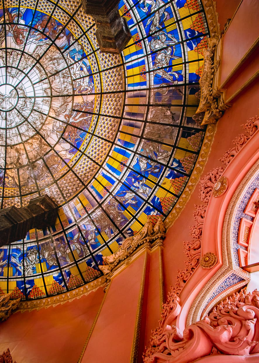 The stained glass ceiling of Bangkok, Thailand's Erawan Museum.