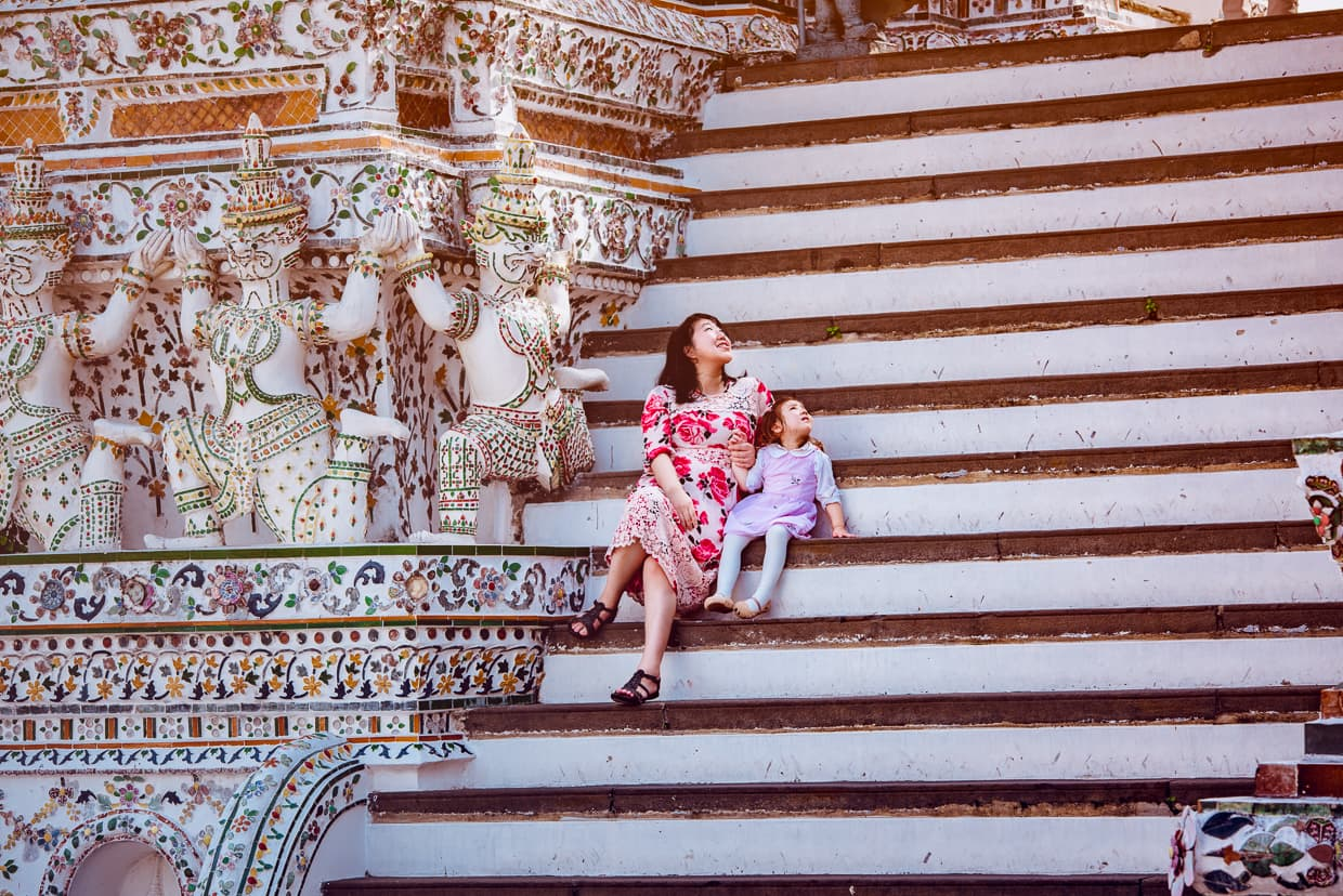 Family at Wat Arun in Bangkok, Thailand.