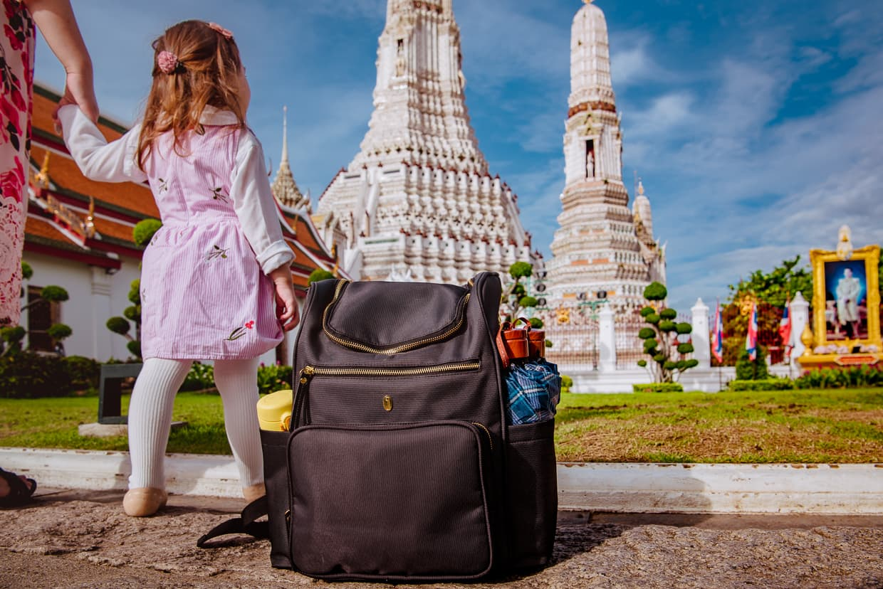The Idaho Jones Gallivant Baby Changing Diaper Backpack in Bangkok, Thailand.